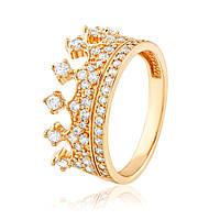 """Кольцо золотое широкое с цирконами """"Корона"""", КД2054 Eurogold"""
