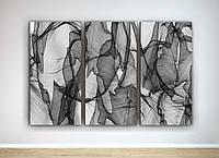 Абстрактная модульная картина Черно-белая Дым Спокойный рисунок Нейтральный цвет 90х60 из 3-х частей