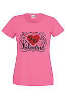 Футболка  BE MY VALENTINE  розовая для женщин