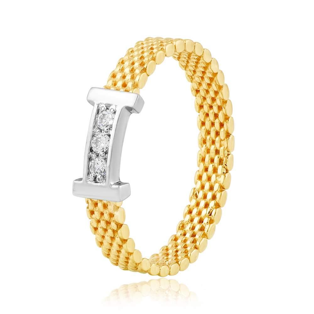 """Золотое кольцо с цирконами """"Гермес"""", желтое золото, КД2056/2 Eurogold"""
