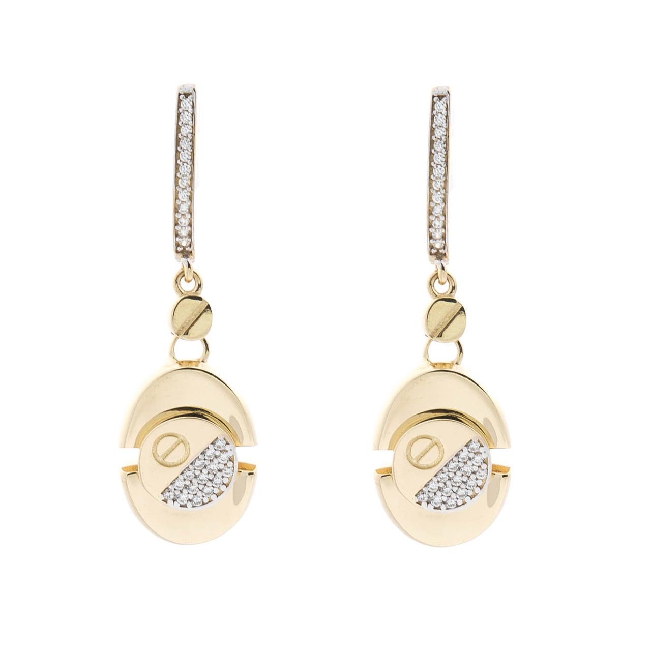 Золотые серьги с фианитами гс04918