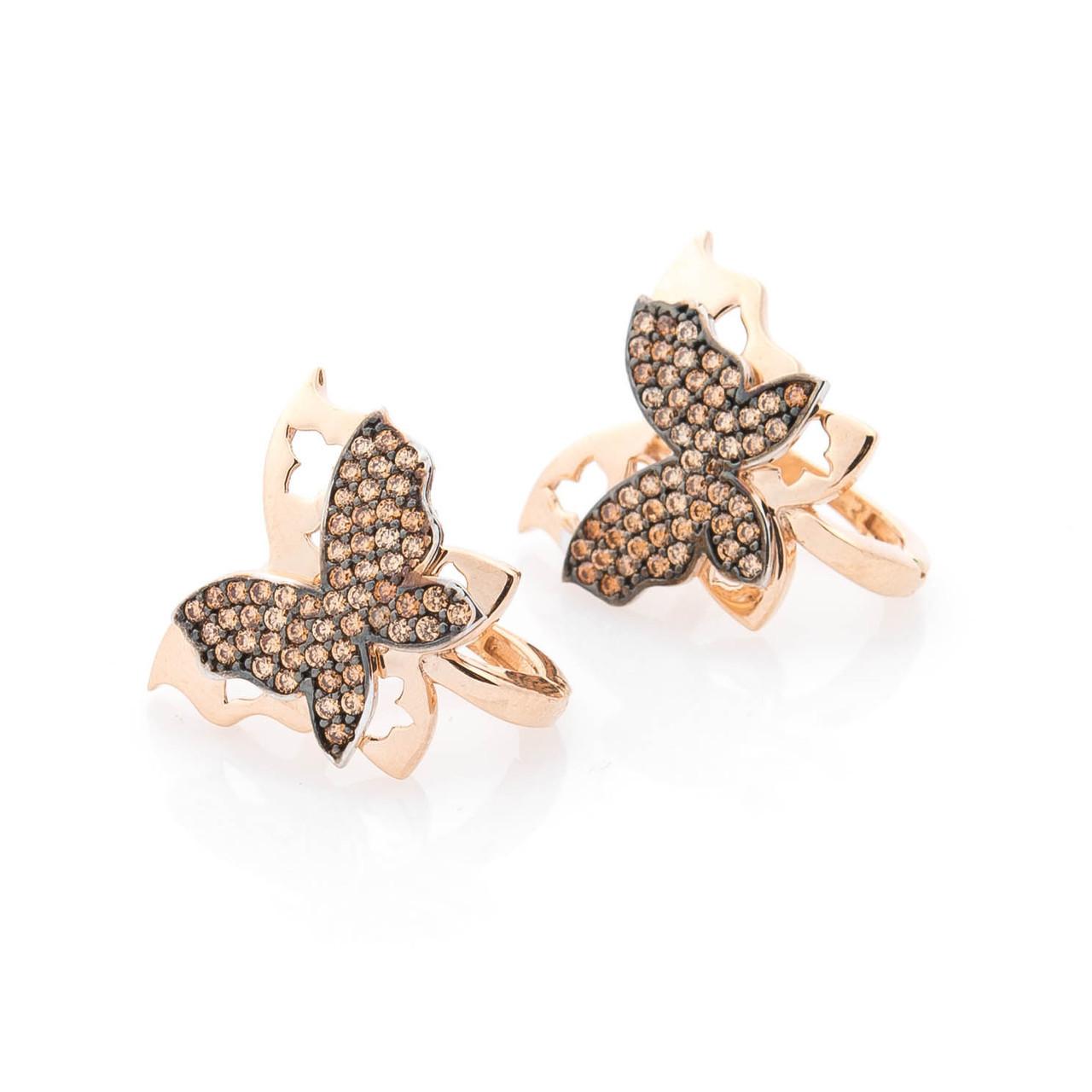 """Золотые серьги """"Бабочки"""" с фианитами гс05536"""