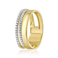 """Кольцо золотое с цирконами """"Грань"""", желтое золото, КД2060/2 Eurogold"""