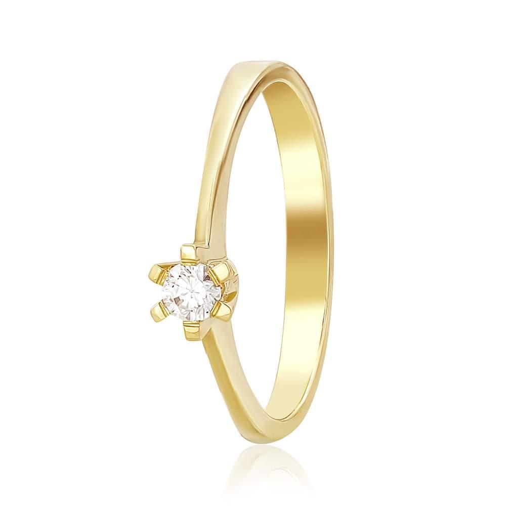 """Кольцо с камнем SWAROVSKI Zirconia """"Созвездие"""", желтое золото, КД4026/2SW Eurogold"""