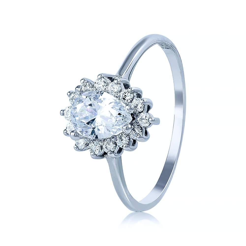 """Золотое кольцо с камнем Сваровски """"Ницца"""", белое золото, КД4033/1SW Eurogold"""