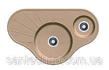 Угловая гранитная мойка на две чаши Fabiano ARC 94*58*15 Beige (песочный)