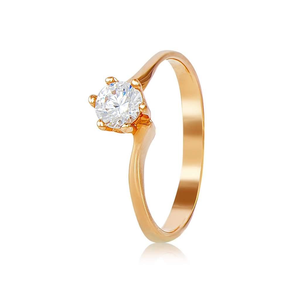 """Золотое кольцо с камнем Сваровски """"Фарго"""", красное золото, КД4043SW Eurogold"""