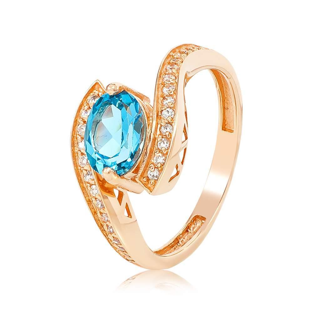 """Золотое кольцо с топазом и цирконами """"Форум"""", красное золото, КД4053ТОПАЗ Eurogold"""