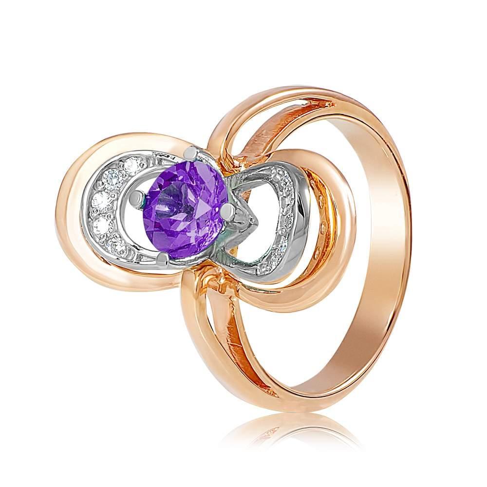 """Кольцо  с аметистом """"Цирцея"""", комбинированное золото, КД4063АМЕТИСТ Eurogold"""