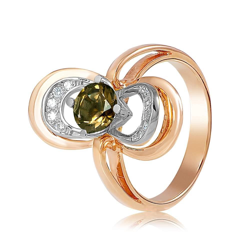 """Золотое кольцо с раухтопазом """"Цирцея"""", комбинированное золото, КД4063РАУХТОПАЗ Eurogold"""