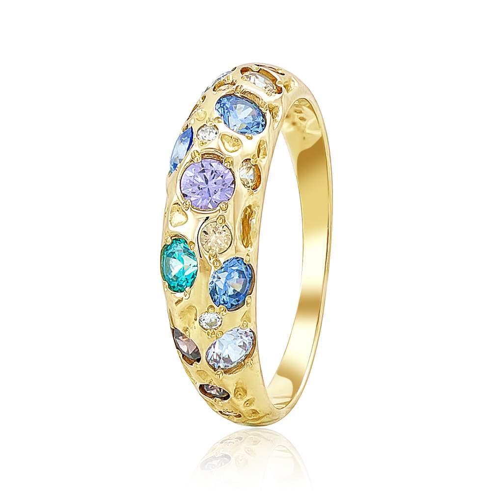 """Кольцо золотое с фианитами SWAROVSKI Zirconia """"Радуга"""", желтое золото, КД4064/2SW Eurogold"""