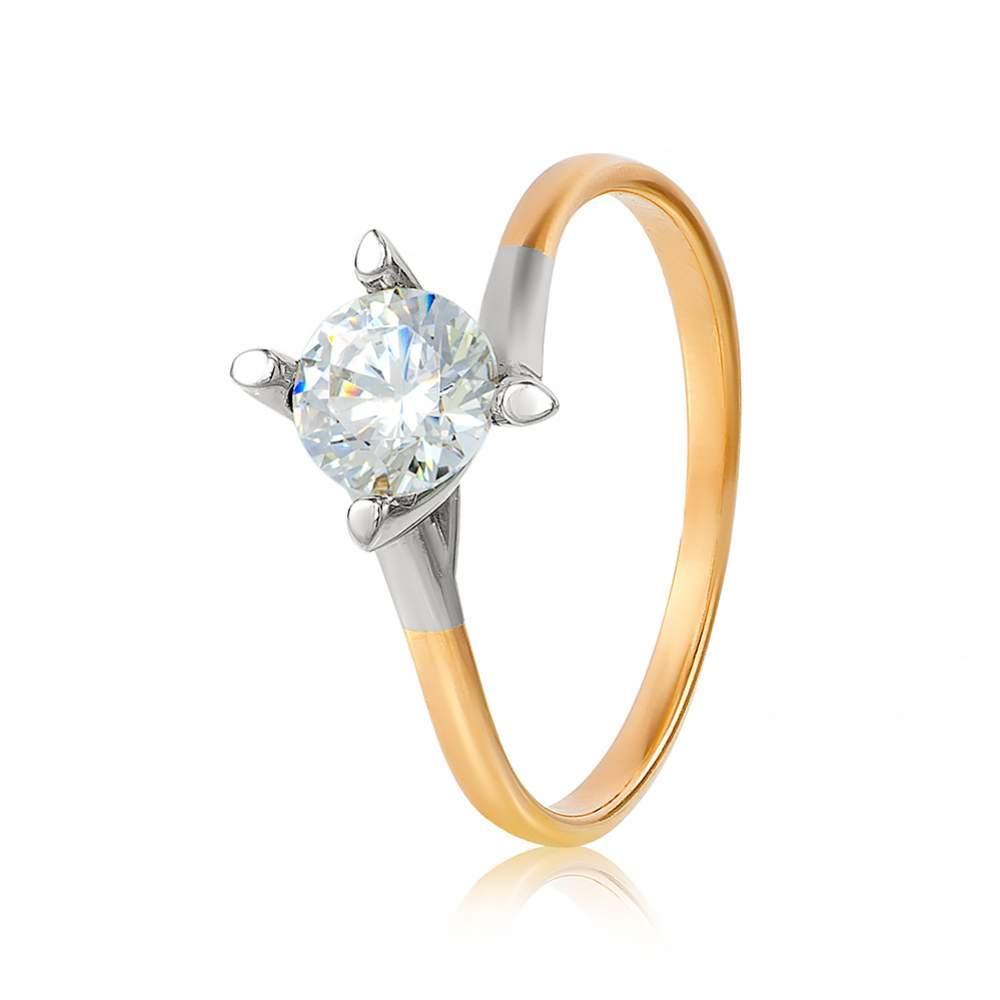 """Кольцо  с камнем SWAROVSKI Zirconia """"Изящность"""", комбинированное золото, КД4098SW Eurogold"""