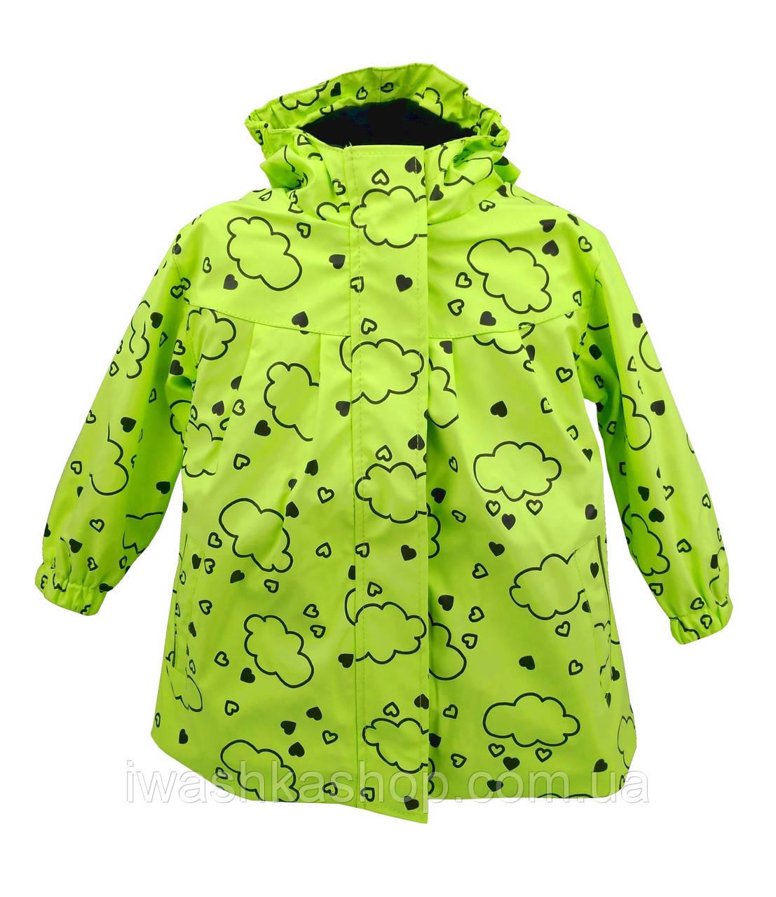 Яркая салатовая прорезиненная куртка - дождевик для девочки 1 - 1,5 года, р. 80 - 86, X-Mail.