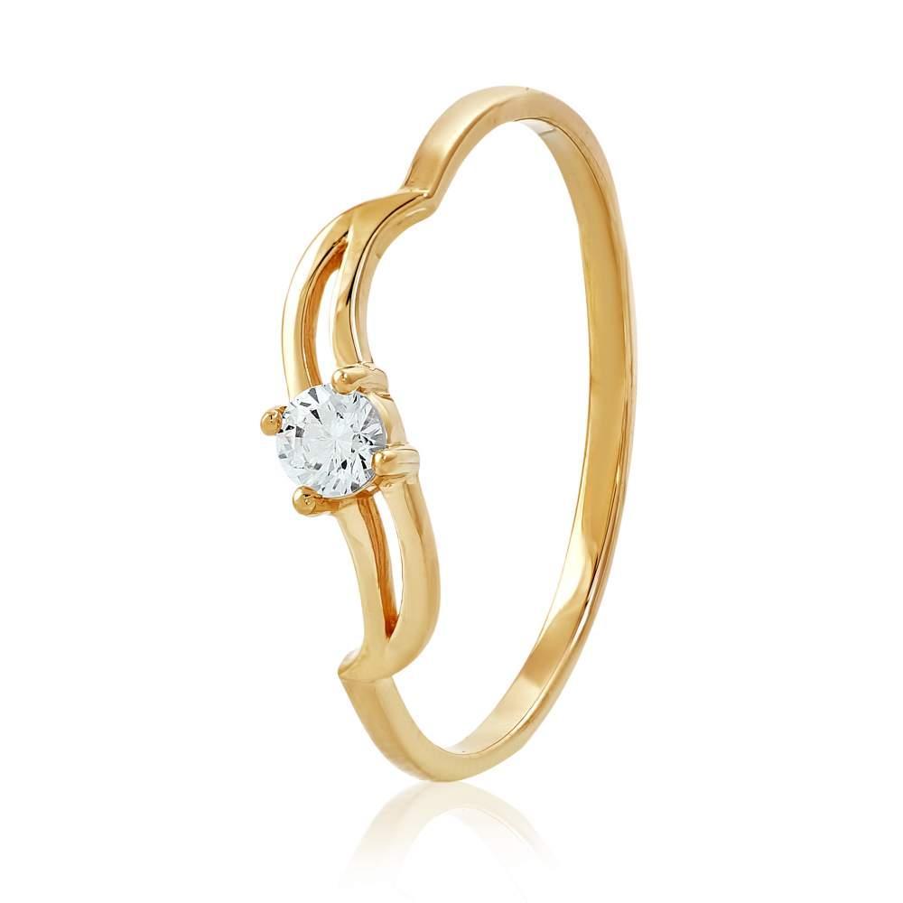 """Кольцо золотое с камнем SWAROVSKI Zirconia """"Дали"""", КД4144SW Eurogold"""