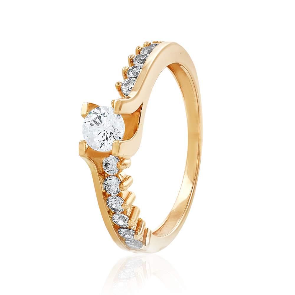 """Кольцо золотое с камнем SWAROVSKI Zirconia """"Крит"""", КД4157SW Eurogold"""