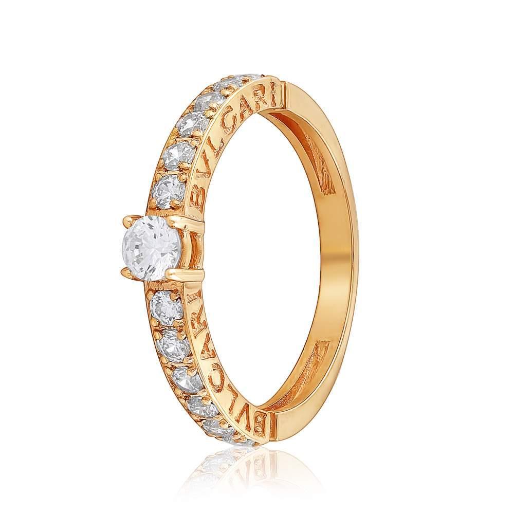 "Кольцо золотое с камнем SWAROVSKI Zirconia ""Орнелла"" BVLGARY, КД4167SW Eurogold"