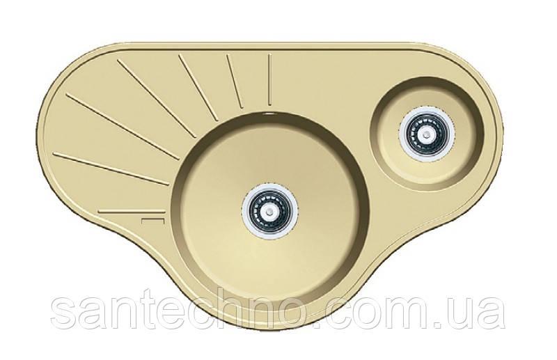 Кутова гранітна мийка на дві чаші Fabiano ARC 94*58*15 Cream (кремовий)