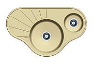 Угловая гранитная мойка на две чаши Fabiano ARC 94*58*15 Cream (кремовый)