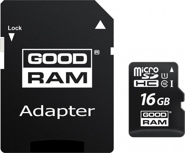Карта памяти Goodram microSDHC 16GB UHS-I class 10 + adapter (M1AA-0160R11)