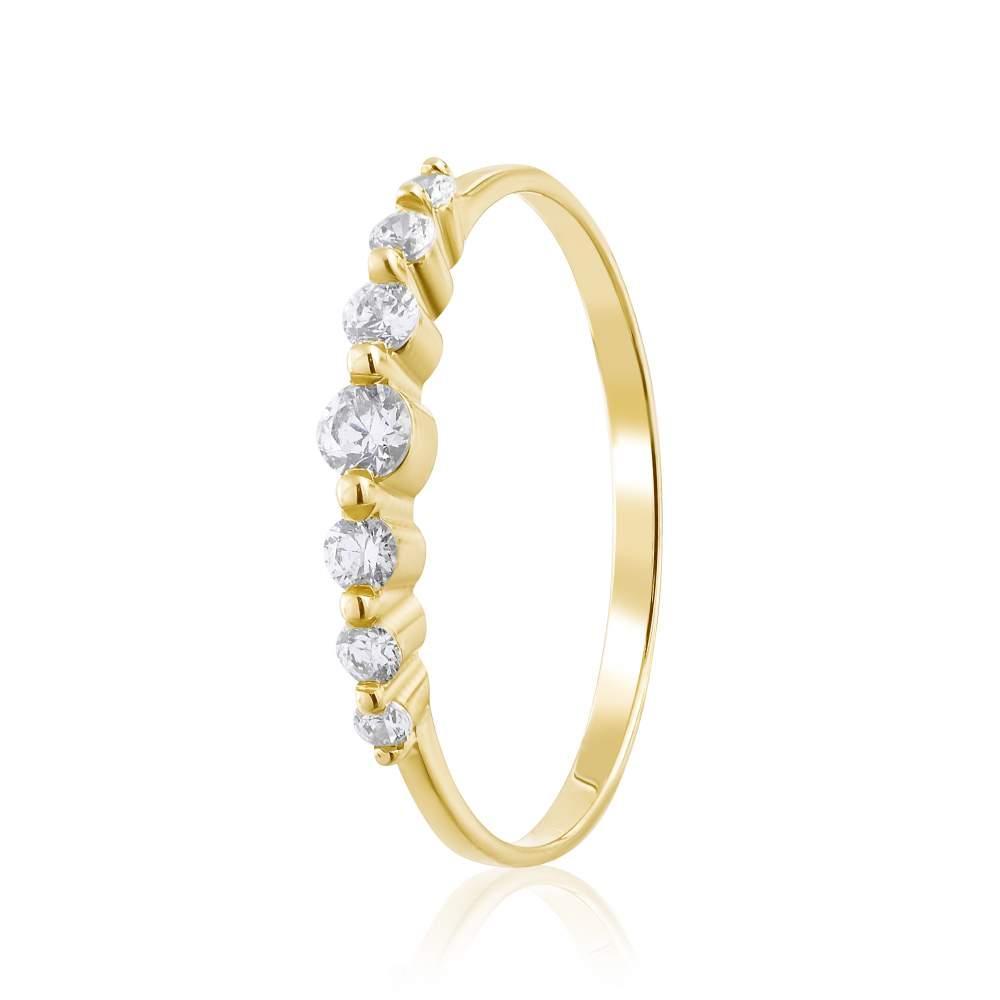 """Кольцо золотое с камнями SWAROVSKI Zirconia """"Сабрина"""", желтое золото, КД4181/2SW Eurogold"""