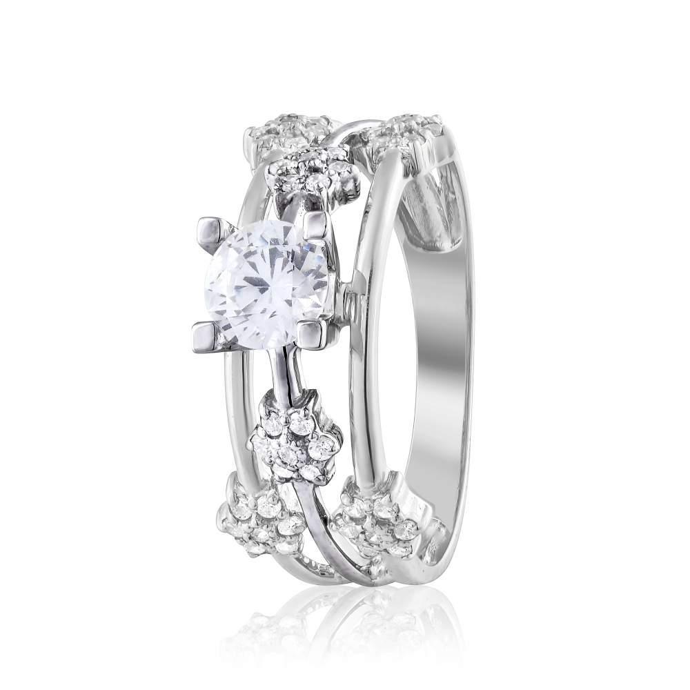 """Кольцо  с камнем SWAROVSKI Zirconia """"Вензель"""", белое золото, КД4182/1SW Eurogold"""
