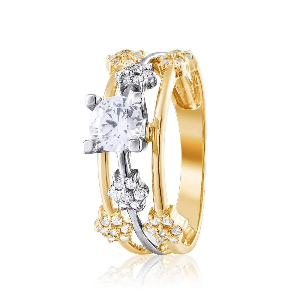 """Кольцо  с камнем SWAROVSKI Zirconia """"Вензель"""", комбинированное золото, КД4182/2SW Eurogold"""