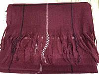 Объёмный бордовый тёплый шарф  в клетку для мужчин
