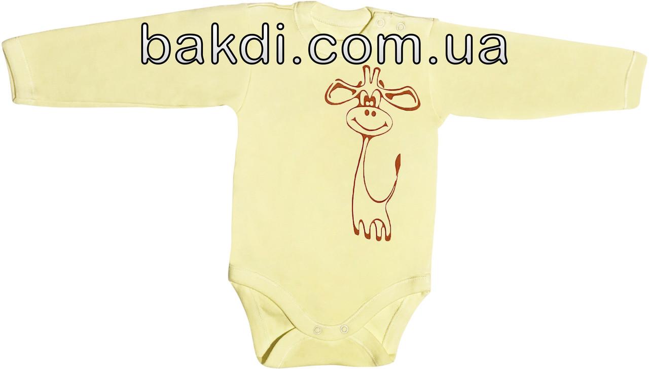 Детское боди для новорожденных рост 62 2-3 мес на мальчика девочку трикотажное с длинным рукавом жёлтое