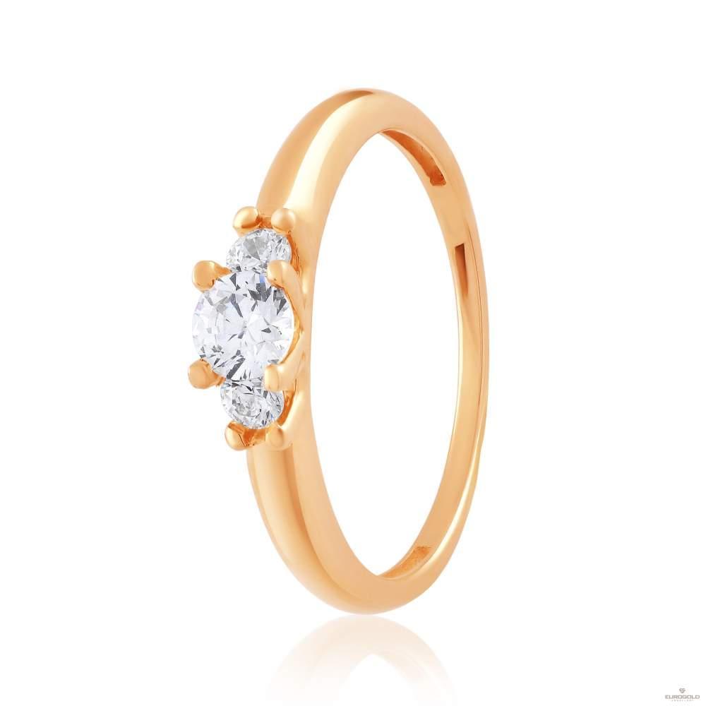 Кольцо золотое с камнем SWAROVSKI Zirconia, КД4194SW  Eurogold
