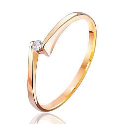 """Золотое кольцо тонкое с бриллиантом """"Встреча"""", КД7381 Эдем"""