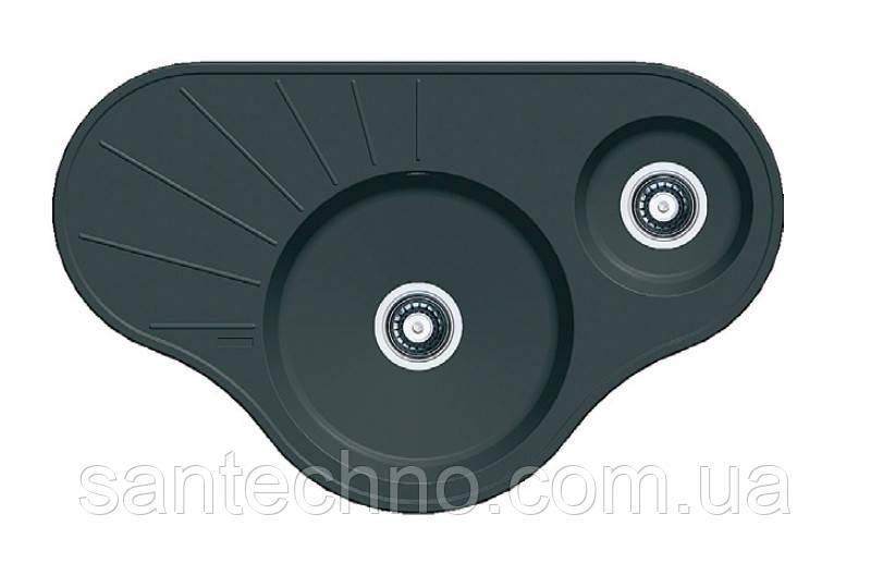 Кутова гранітна мийка на дві чаші Fabiano ARC 94*58*15 Nero (чорний)