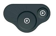 Угловая гранитная мойка на две чаши Fabiano ARC 94*58*15 Antracit (черный)