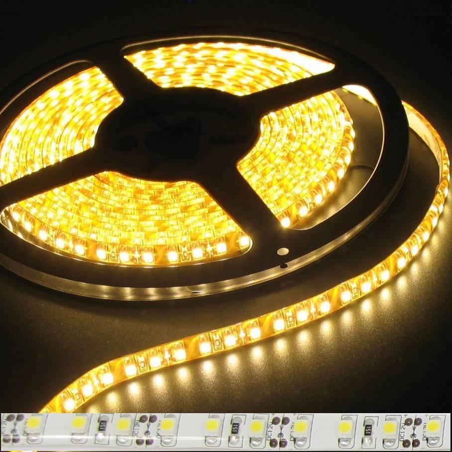 Светодиодная лента SMD 3528 5м желтая влагозащищенная LED