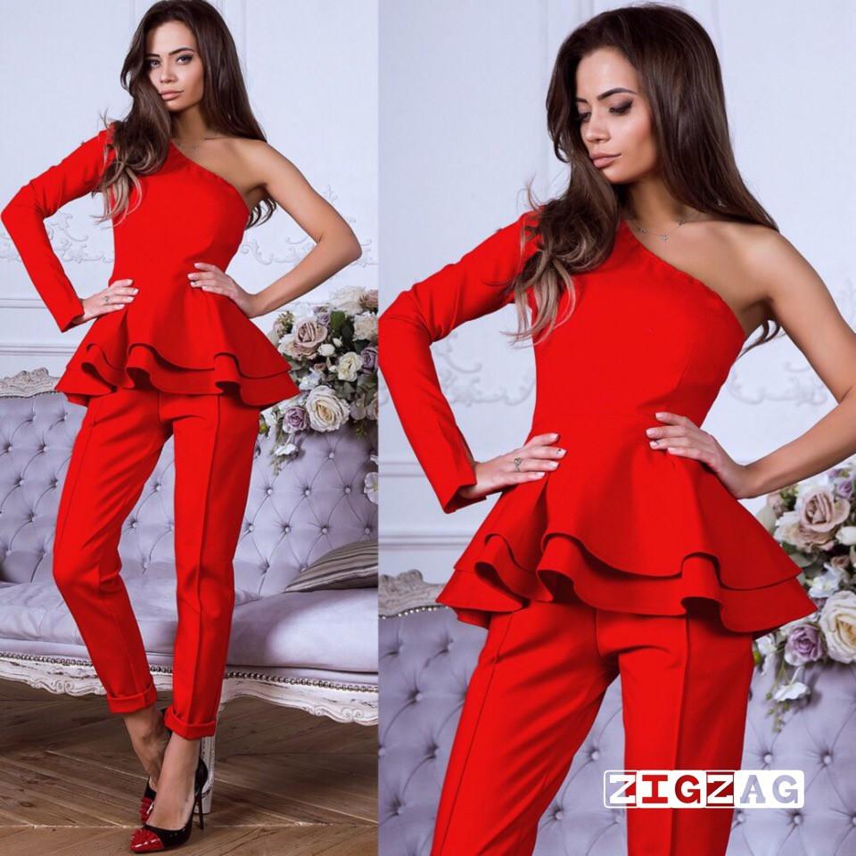 15298850a94 Женский модный костюм с баской новинка 2019 - Интернет- магазин