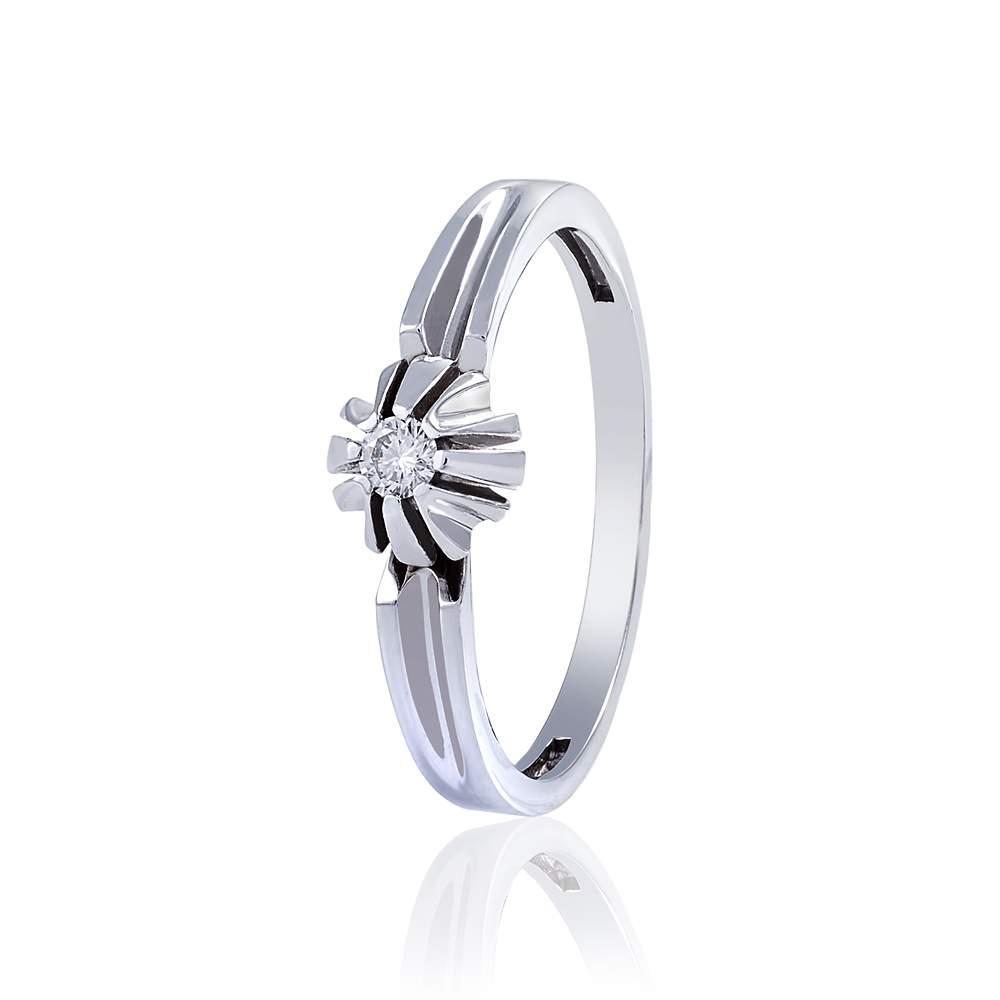 """Кольцо из белого золота с бриллиантом """"Совершенство"""", КД7520/1 Eurogold"""
