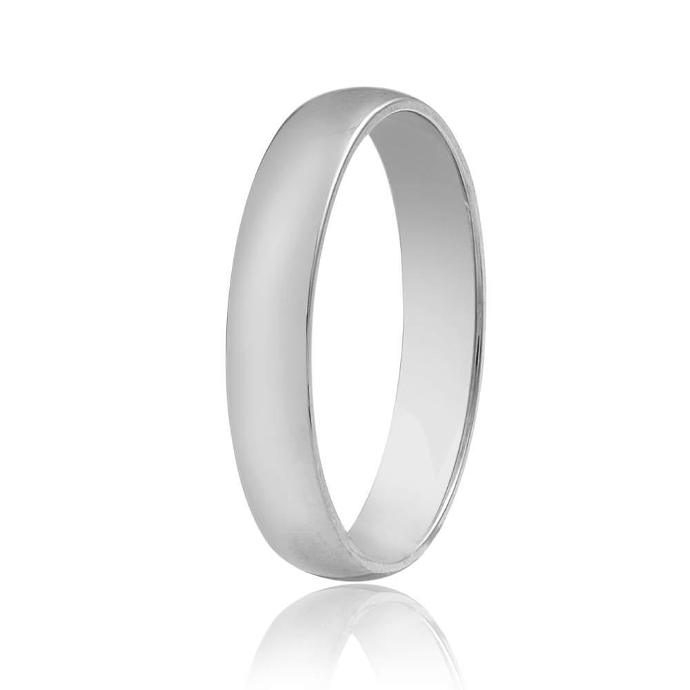 """Обручальное кольцо в классическом стиле """"Тонкая классика"""", белое золото, КО035Б Eurogold"""