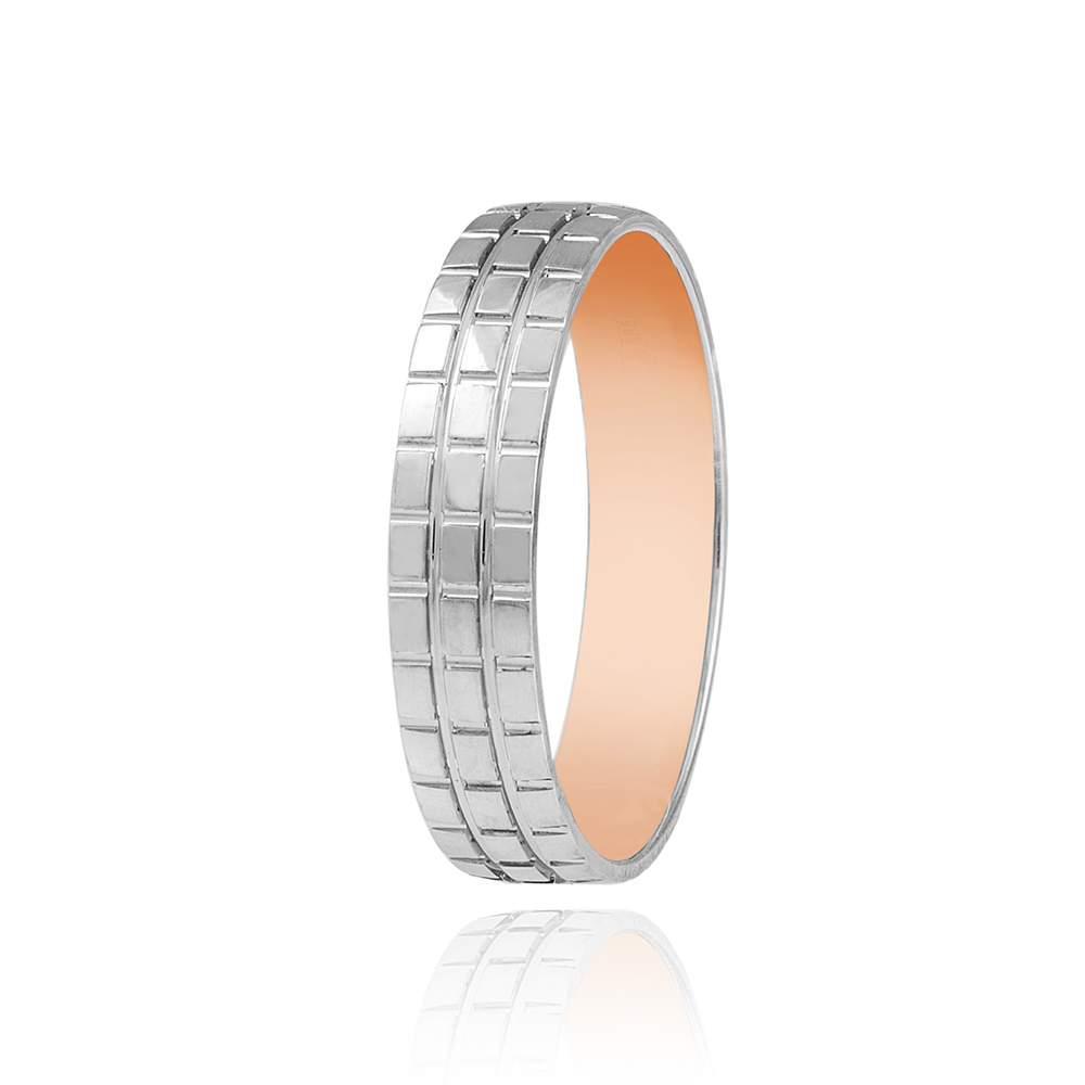 обручальное кольцо, протекторное, белое золото, КОА007 Eurogold