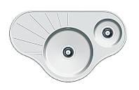 Угловая гранитная мойка на две чаши Fabiano ARC 94*58*15 Alpine White (белый)