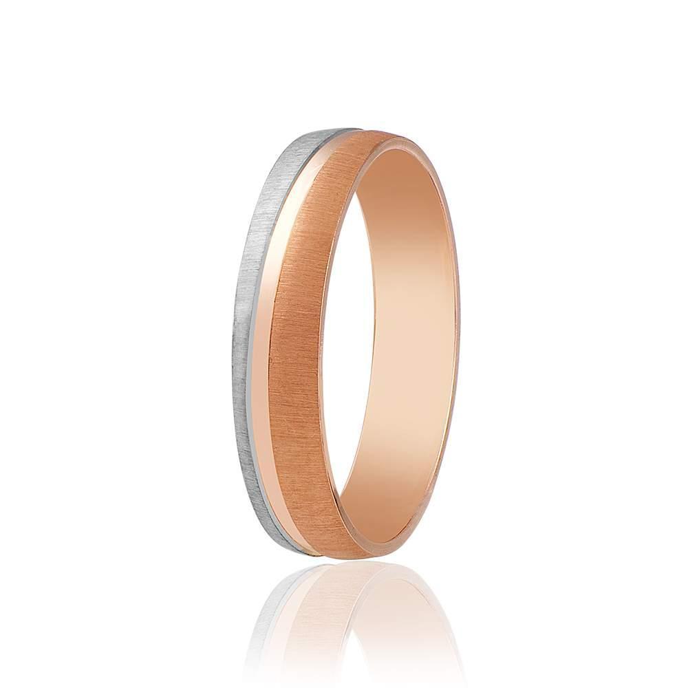 Обручальное кольцо матированное, комбинированное золото, КОА027 Eurogold