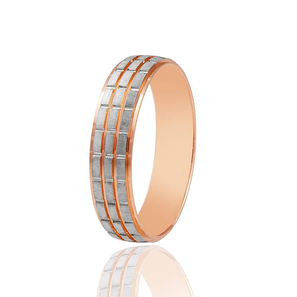 Обручальное кольцо, протекторное, комбинированное золото, КОА031 Eurogold