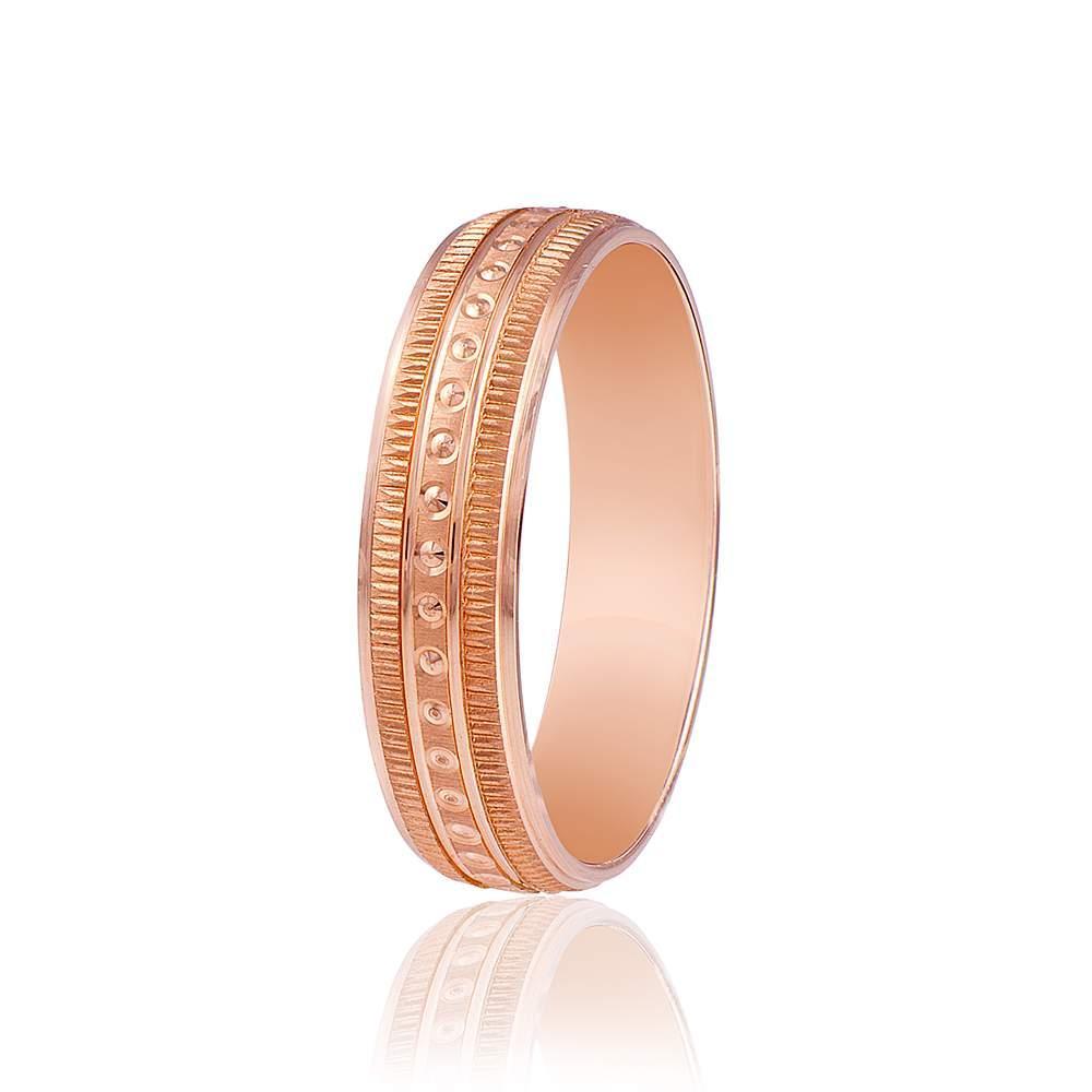 Золотое обручальное кольцо, округлый орнамент с насечками, КОА049 Eurogold