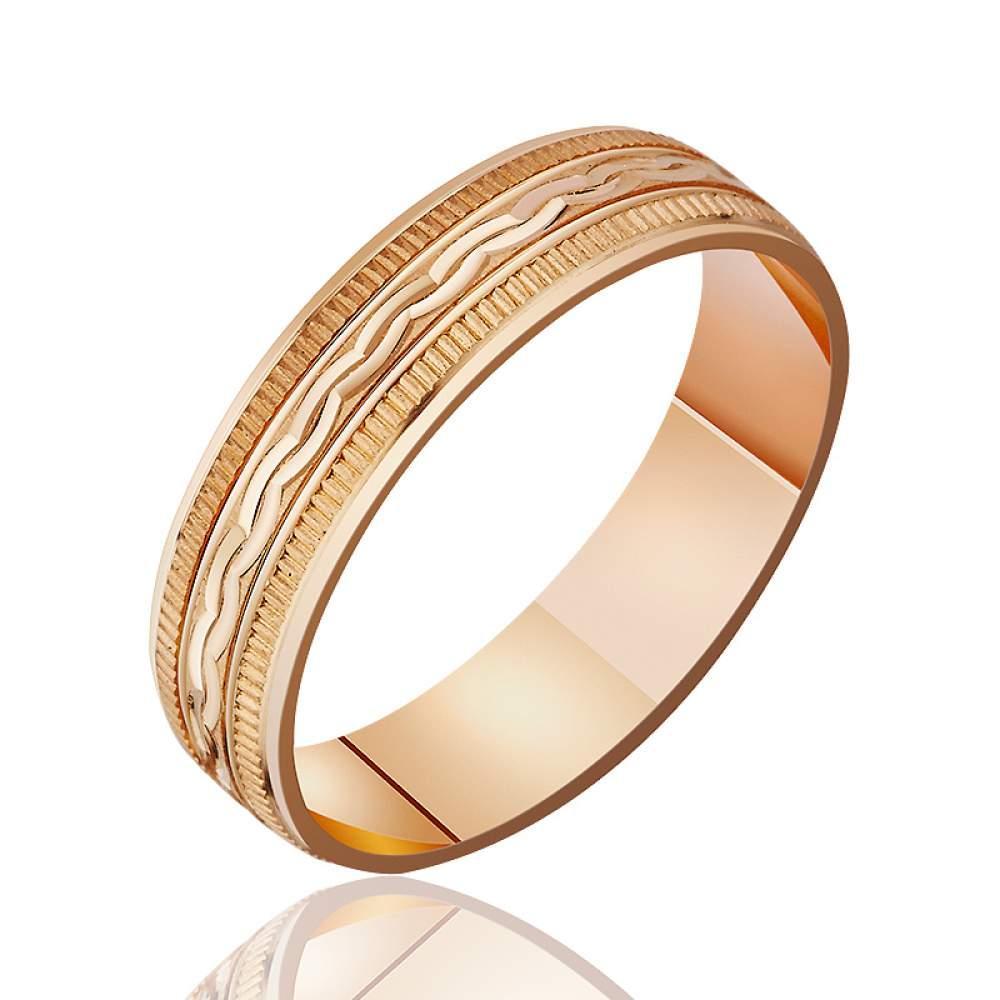 Золотое обручальное кольцо, фигурный орнамент с насечками, КОА051 Eurogold