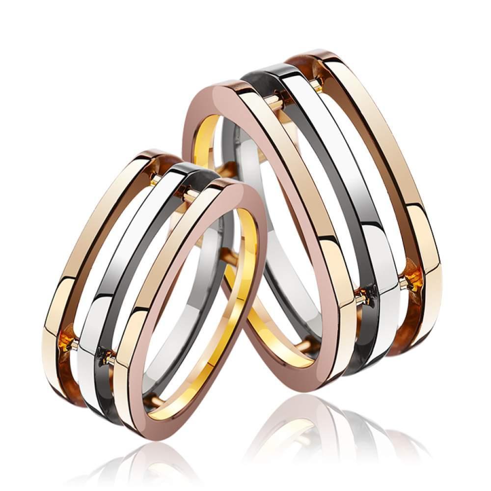 трехсекционноеОбручальное кольцо, комбинированное золото, КОА087 Eurogold