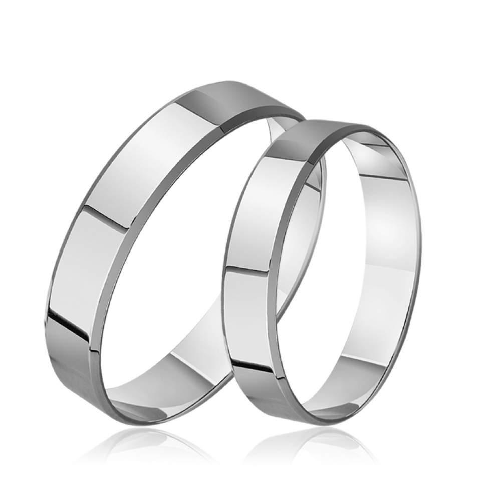 """Обручальное кольцо """"Американка"""", белое золото, КОА099Б Eurogold"""
