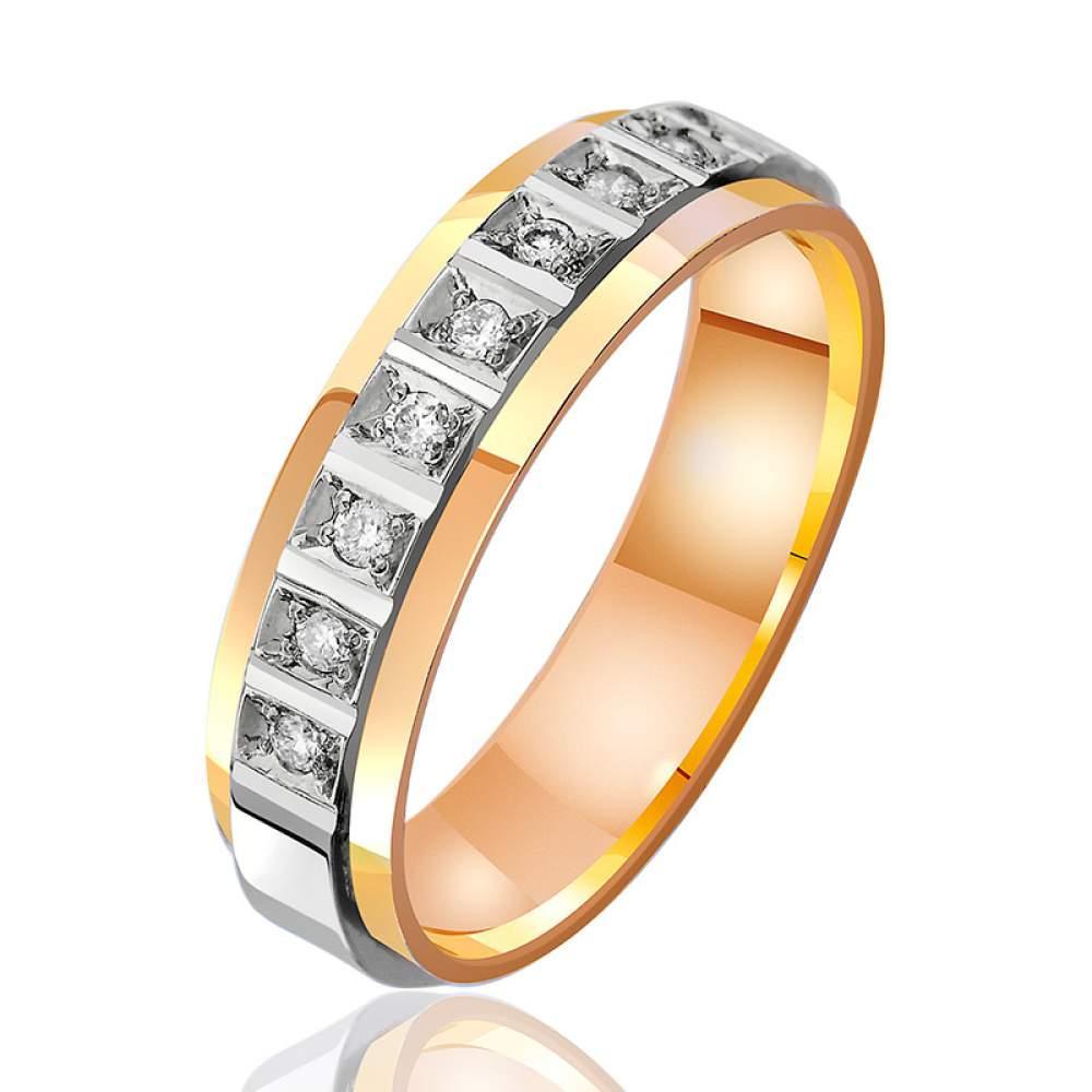 Обручальное кольцо из комбинированного золота с бриллиантами, КОА7089 Eurogold