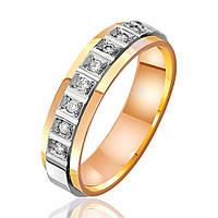 Обручальное кольцо с бриллиантами, комбинированное золото, КОА7089 Eurogold