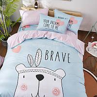 Хлопковый комплект постельного белья Храбрый мишка (двуспальный-евро)