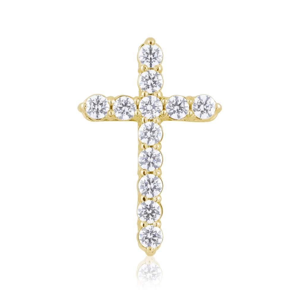 Крест с фианитами Swarovski, желтое золото, КР4183/2SW Эдем