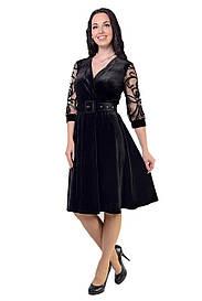 Бархатное платье черного цвета на запах 8513