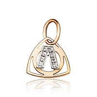 """Золотой кулон в форме буквы """"Л"""", комбинированное золото, П0179Л Eurogold"""